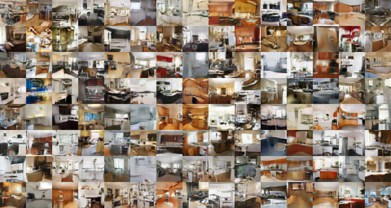 Grid of images of rooms, with many images having recognizable elements of kitchens