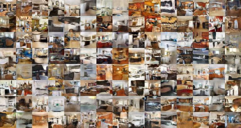 """Grid of images of rooms, many of which look very """"smeared"""""""