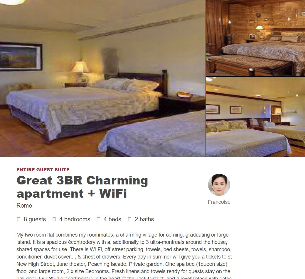 A screenshot of a plausible-looking AirBNB listing, taken from the website thisairbnbdoesnotexist.com