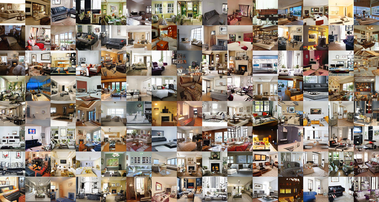 Grid of living room images, showing most images looking decent at a glance
