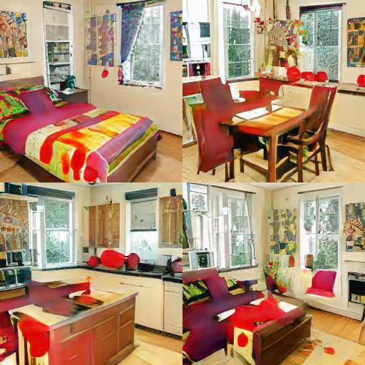 4-square grid of images: each has a very similar color scheme, style, and room layout, but they each look like different rooms: bedroom, dining room, kitchen, and living room.